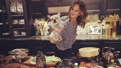 Chrissy Teigen in her modern celebrity kitchen