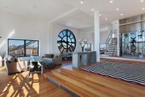clock tower penthouse condo home open concept living space