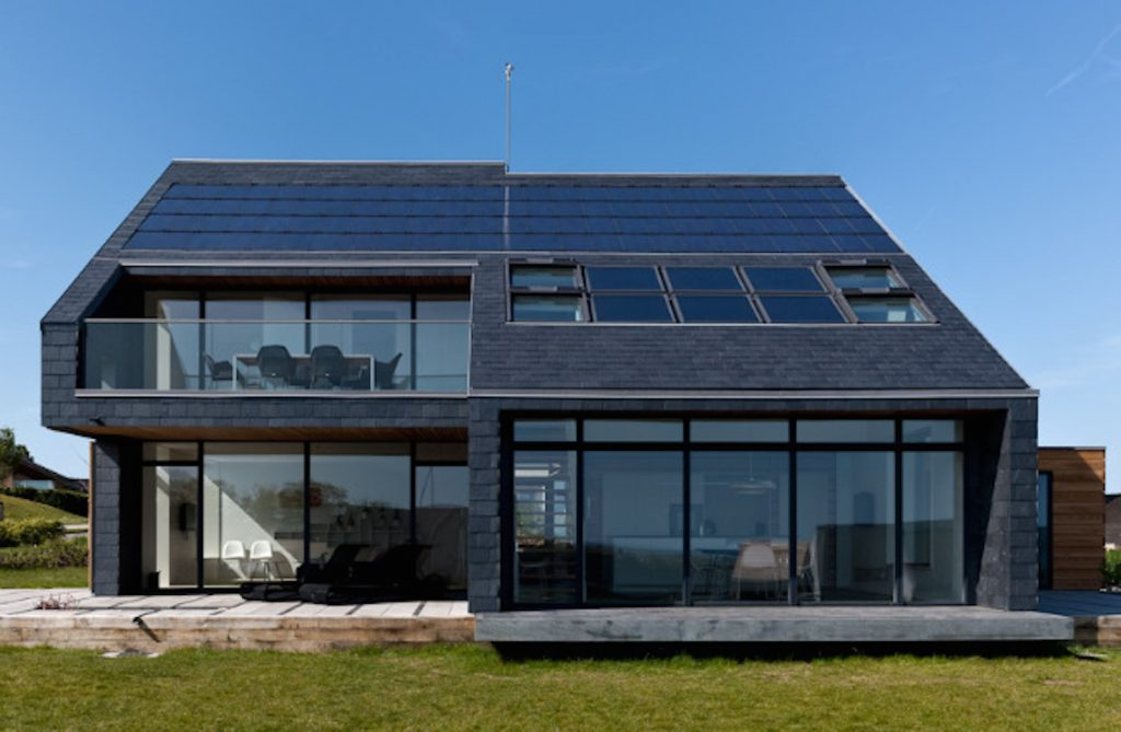 solar panels on solar powered home luxury modern house black