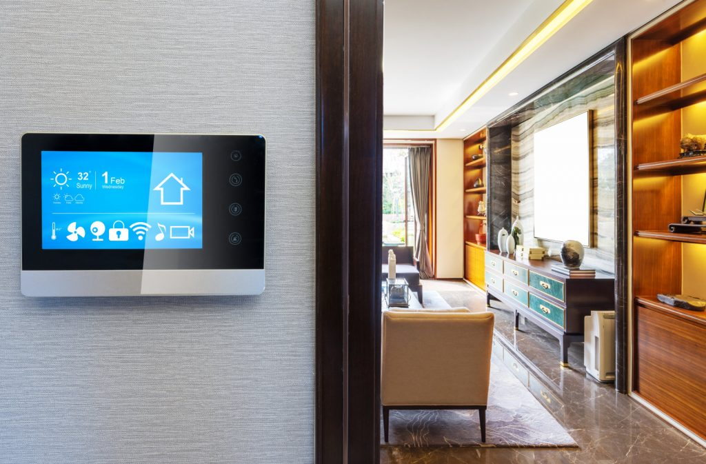 smart screen with smart home and modern living room bow echo construction